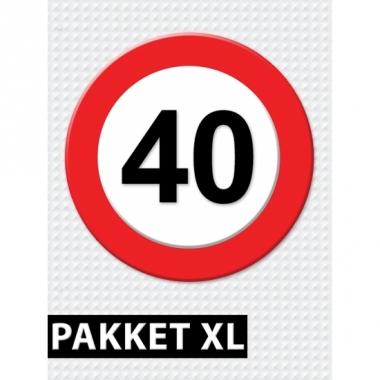 Verkeersbord 40 jaar versiering pakket xl