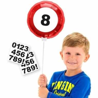 Verkeersbord leeftijd folieballon met cijfer stickers 23 cm