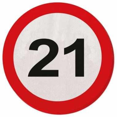 Verkeersbord servetten 21 jaar