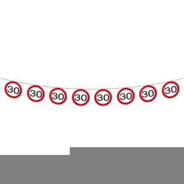 Verkeersborden slingers 30 jaar 12 meter