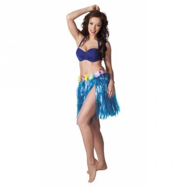 Verkleed blauw hawaii hula rokje voor dames
