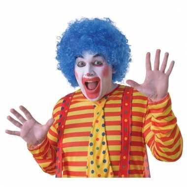 Verkleed clown pruik blauw voor volwassenen