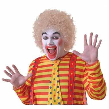 Verkleed clown pruik blond voor volwassenen