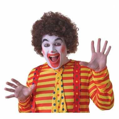 Verkleed clown pruik bruin voor volwassenen