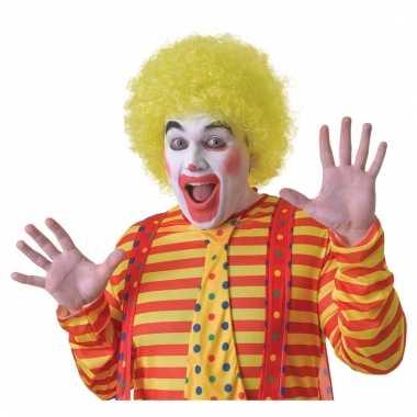 Verkleed clown pruik geel voor volwassenen