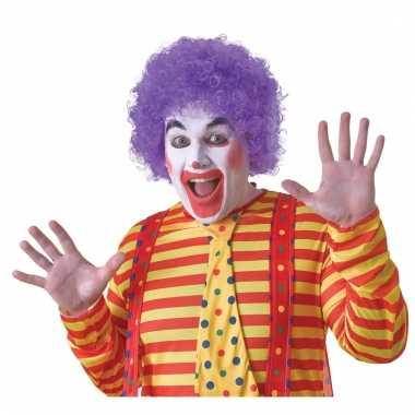 Verkleed clown pruik paars voor volwassenen