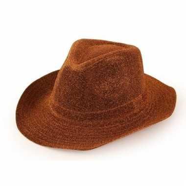 Verkleed cowboyhoed koper bruin glitters voor volwassenen