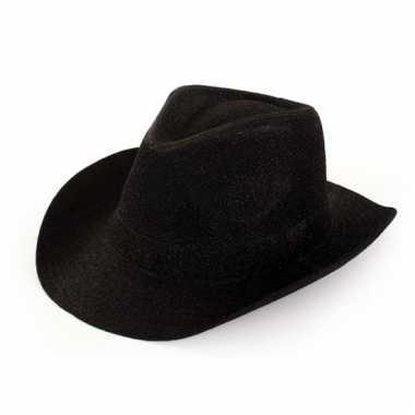 Verkleed cowboyhoed zwart glitters voor volwassenen
