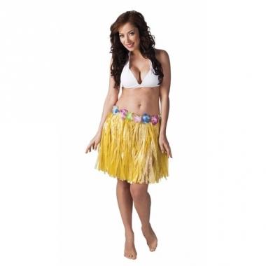 Verkleed geel hawaii hula rokje voor dames