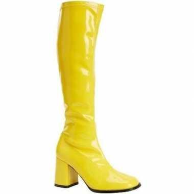 Verkleed gele kuitlaarzen met blokhakken voor dames