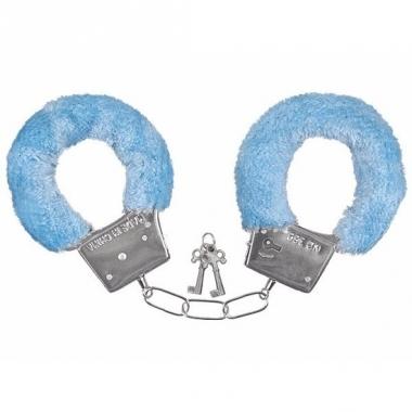 Verkleed handboeien blauw pluche