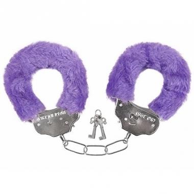 Verkleed handboeien paars pluche