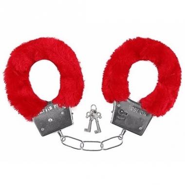 Verkleed handboeien rood pluche