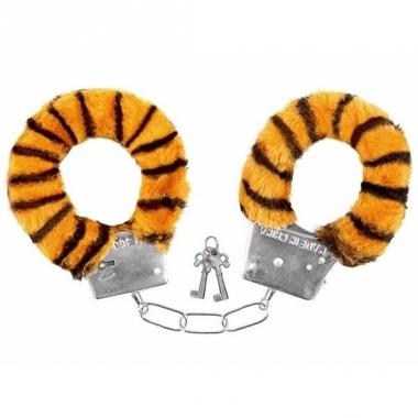 Verkleed handboeien tijgerprint pluche