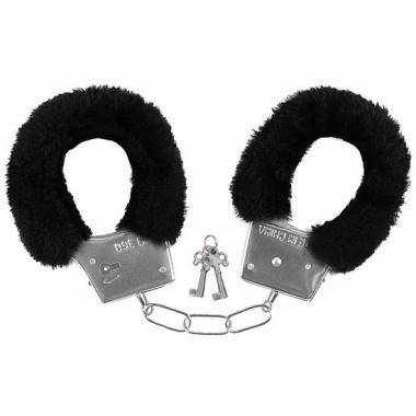 Verkleed handboeien zwart pluche
