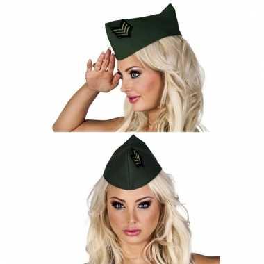 Verkleed hoedje dames soldaat groen