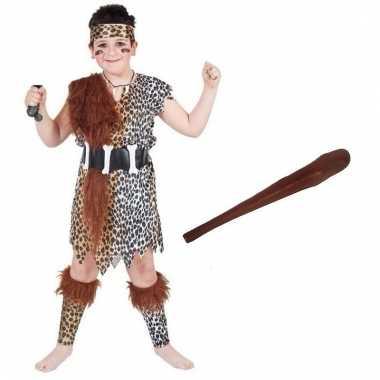Verkleed holbewoners outfit met knuppeltje voor kinderen maat l