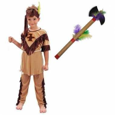 Verkleed indianen outfit voor kinderen maat m met tomahawk