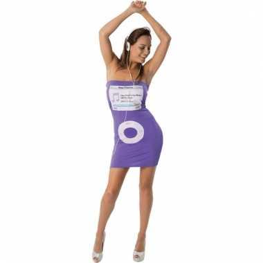Verkleed jurkje paars nep ipod voor dames