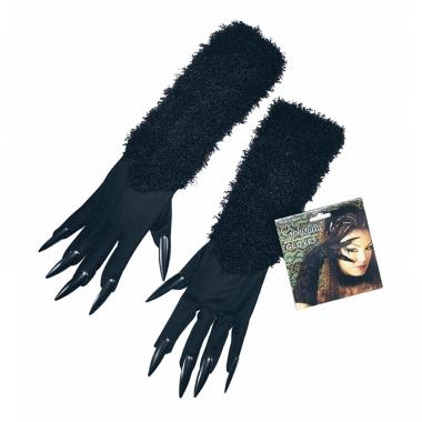 Verkleed katten handschoenen zwart