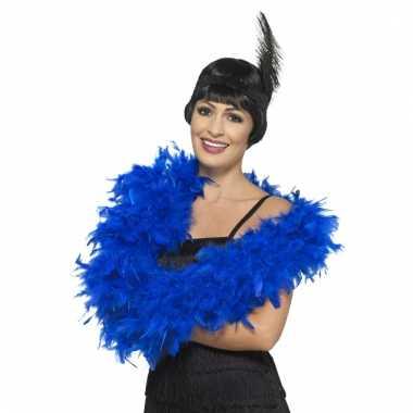 Verkleed luxe veren boa blauw 180 cm