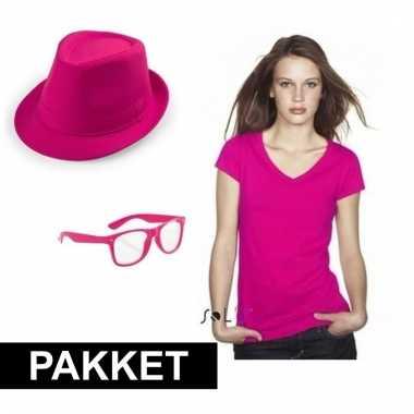 Verkleed pakket voor vrouwen roze