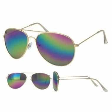 Verkleed piloten zonnebril goud voor volwassenen