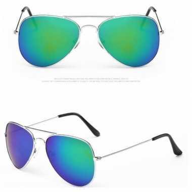 Verkleed piloten zonnebril zilver voor volwassenen