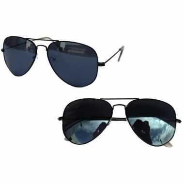 Verkleed piloten zonnebril zwart voor volwassenen