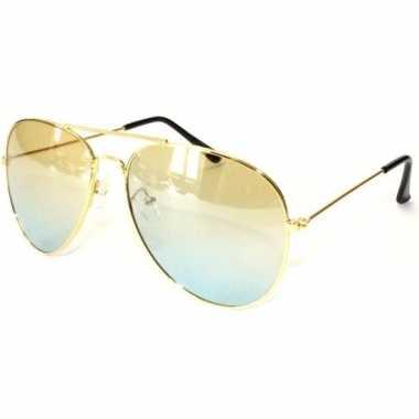 Verkleed politie/agent zonnebril goud voor volwassenen