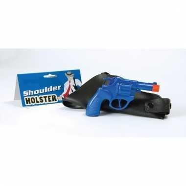Verkleed politie revolver blauw met schouder holster