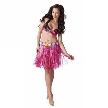 Verkleed roze hawaii hula rokje voor dames