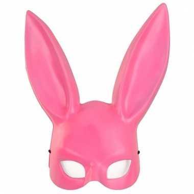 Verkleed roze konijntje/haasje gezichtsmasker voor volwassenen