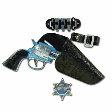 Verkleed sheriff/cowboy wapen met holster 22 cm