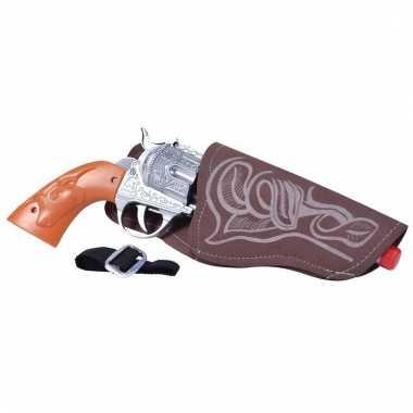 Verkleed sheriff/cowboy wapen zilver 20 cm met holster