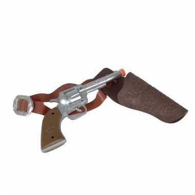 Verkleed sheriff/cowboy wapen zilver met holster 22 cm