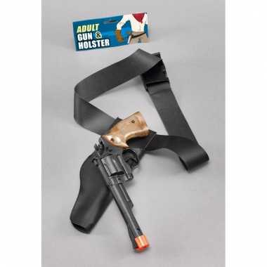 Verkleed sheriff/cowboy wapen zwart met holster 22 cm