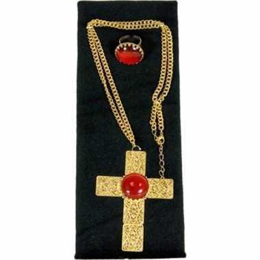 Verkleed sinterklaas ketting en ring set goud/rood kruis voor heren/v