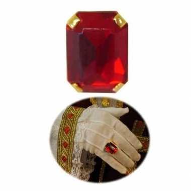 Verkleed sinterklaas ring rechthoekig goud/rood voor volwassenen