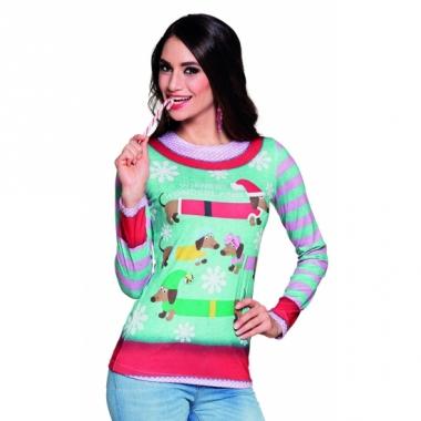 Verkleed t-shirt kerstprint dames