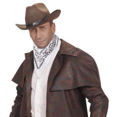 Verkleed witte cowboy bandana/zakdoek 55 x 55 cm