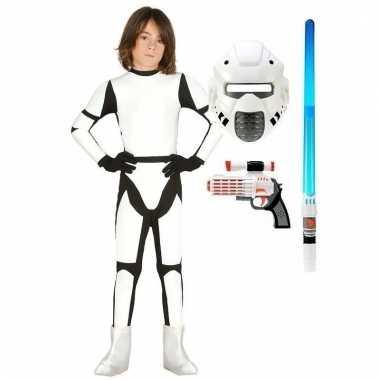 Verkleed witte ruimte soldaat kostuum maat 140-152 voor kinderen