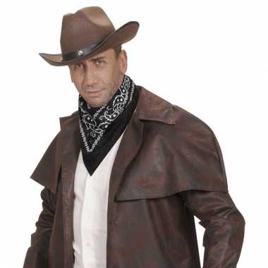 Verkleed zwarte cowboy bandana/zakdoek 55 x 55 cm