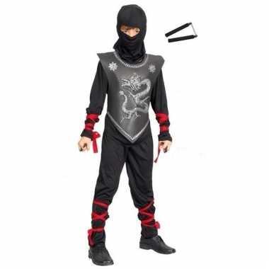 Verkleedkleding ninja pak maat m met vechtstokken voor kinderen