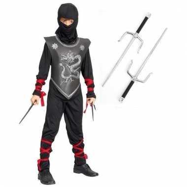 Verkleedkleding ninja pak maat s met dolken voor kinderen