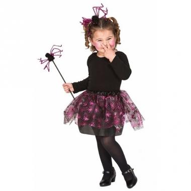 Verkleedkleding roze spin heksenset voor meisjes