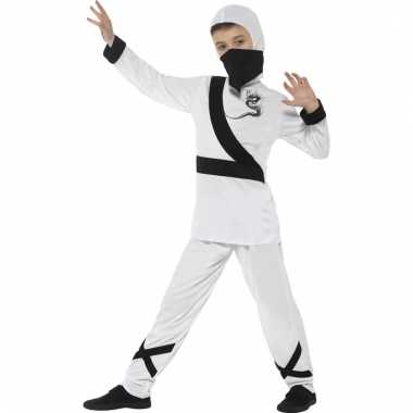 Verkleedkostuum ninja wit/zwart voor kinderen