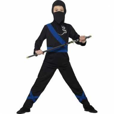 Verkleedkostuum ninja zwart/blauw voor kinderen