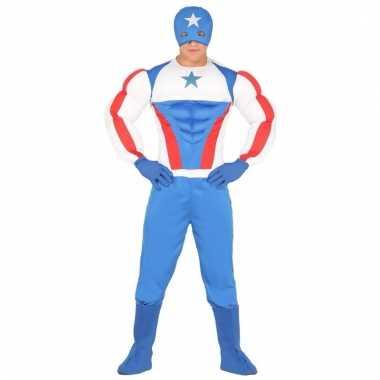 Verkleedkostuum superheld rood blauw voor volwassenen