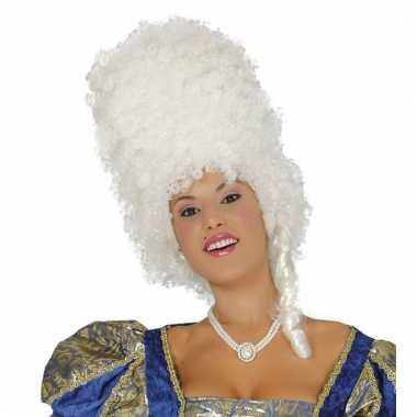 Verkleedpruik baroque wit voor dames